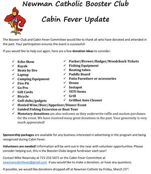 Cabin Fever Needed Donations